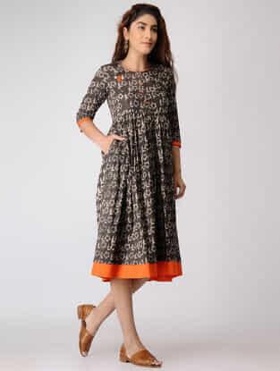 Grey Block-printed Pleated Cotton Dress
