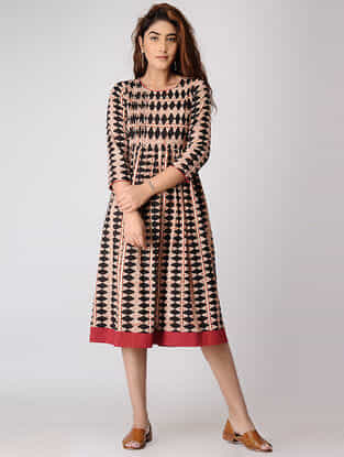 Red-Black Block-printed Pleated Cotton Dress