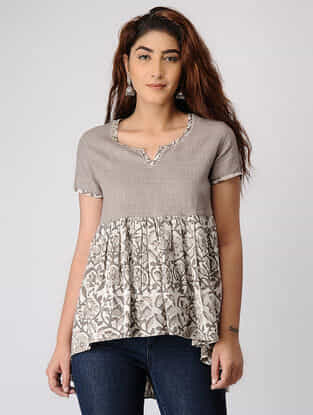 Grey Block-printed Pleated Cotton Tunic