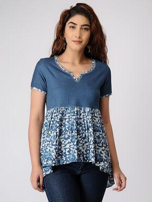 Indigo Block-printed Pleated Cotton Tunic