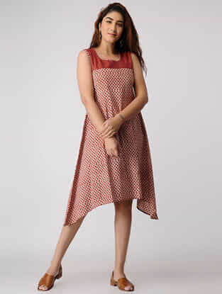 Red Block-printed Cotton Dress with Asymmetrical Hem