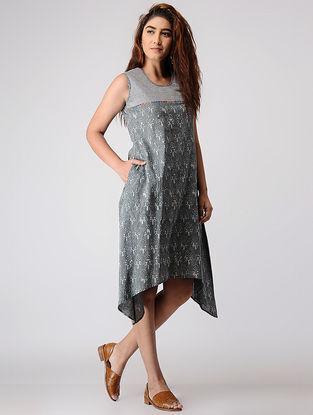 Grey Block-printed Cotton Dress with Asymmetrical Hem