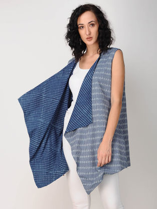 Blue Ajrakh-printed Ikat Cotton Reversible Overlay