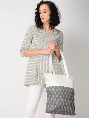 White-Black Ikat Cotton Tunic