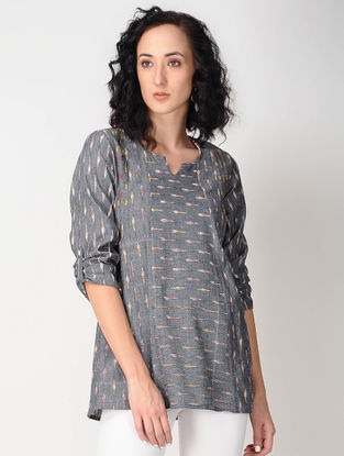 Grey Ikat Cotton Tunic