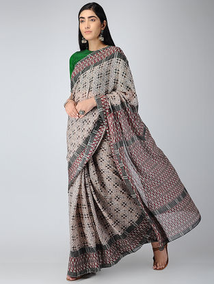 Grey-Red Digital-printed Chiffon Saree
