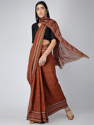 Red-Ivory Digital-printed Chiffon Saree