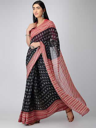 Black-Pink Digital-printed Chiffon Saree