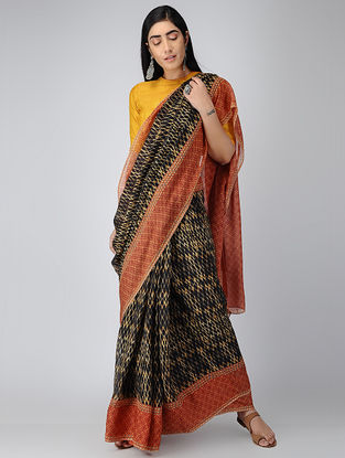 Black-Red Digital-printed Chiffon Saree