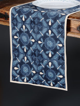 Blue Hand Block-printed Cotton Runner (70in x 14in)