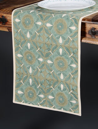 Green Hand Block-printed Cotton Runner (103in x 14in)