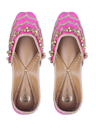 Pink Sequin Embroidered Leather Juttis with Ghungroos