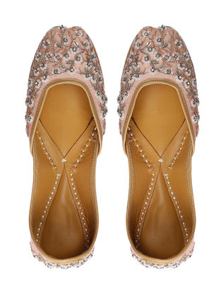 Pink Hand-Embroidered Silk and Leather Juttis
