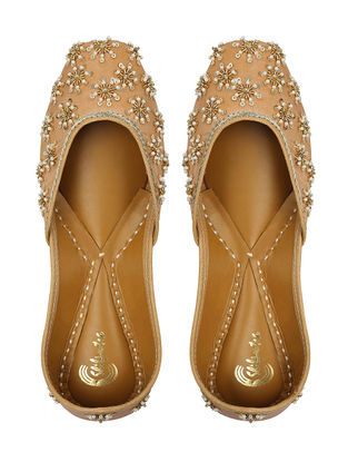 Beige Sequin Embroidered Silk and Leather Juttis