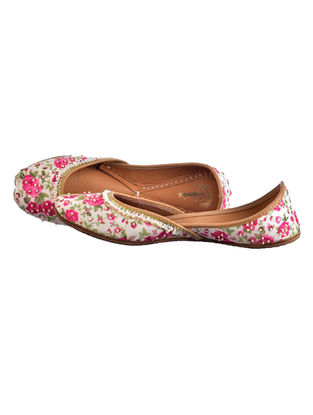 White-Pink Floral Printed Leather Juttis with Embellishments