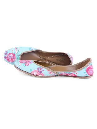 Blue-Pink Floral Digital Printed Leather Juttis with Embellishments