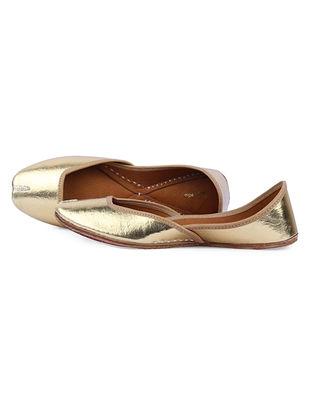 Golden Handcrafted Leather Juttis