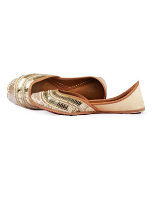 Golden Pearl and Sequins Embellished Silk and Leather Juttis