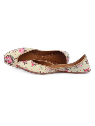 Yellow-Pink Floral Printed Leather Juttis