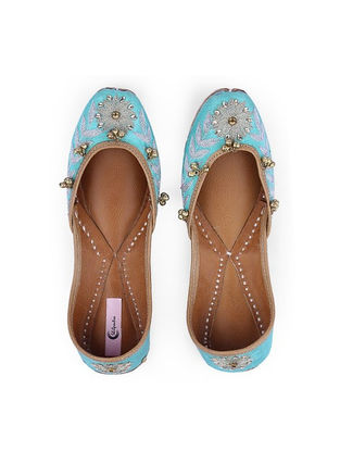 Blue Hand-Embroidered Leather Juttis with Embellishments