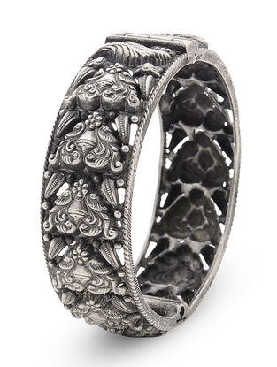 Tribal Hinged Opening Silver Bangle with Peacock Motif (Bangle Size -2/4)