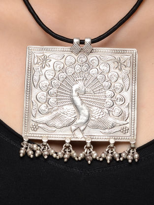Black Thread Necklace with Peacock Motif Silver Pendant