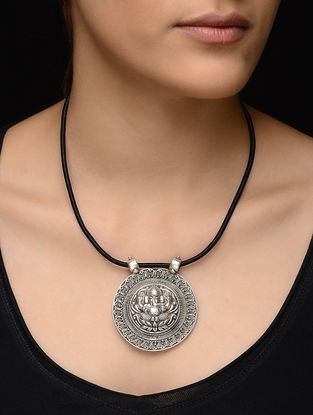 Black Thread Necklace with Lord Ganesha Motif Silver Pendant