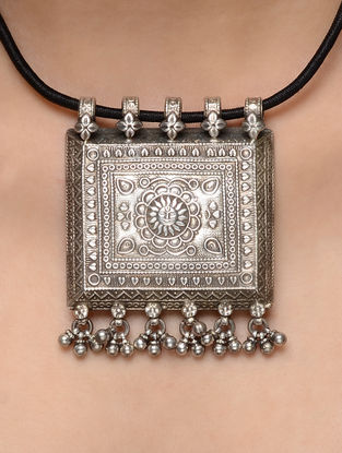 Black Thread Necklace with Silver Pendant