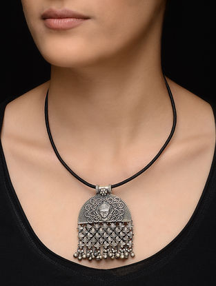 Black Thread Necklace with Deity Motif Silver Pendant