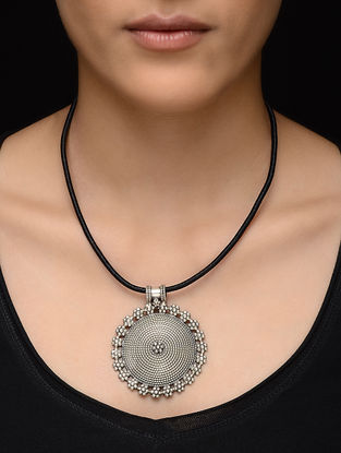 Black Thread Necklace with Floral Design Silver Pendant