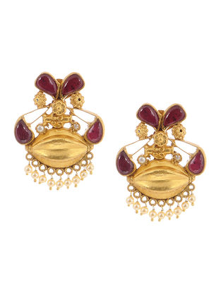Pink Gold Tone Silver Earrings with Pearls