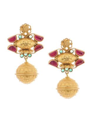 Pink-Green Gold Tone Silver Earrings