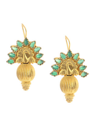 Green Gold Tone Silver Earrings with Peacock Motif