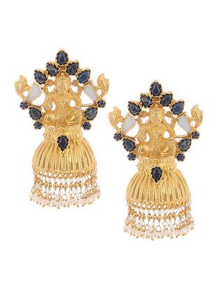 Blue Gold Tone Silver Earrings with Deity Motif