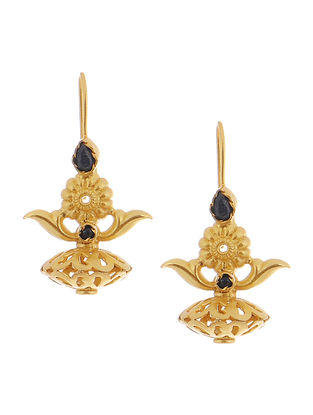Black Gold Tone Silver Earrings with Floral Design