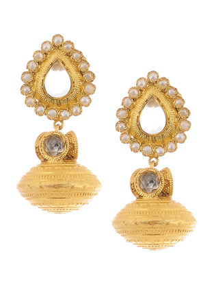Pearl Gold Tone Silver Earrings