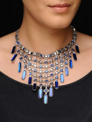 Blue Glass Kundan-inspired Silver Necklace