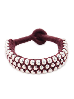 Maroon Thread Silver Bracelet