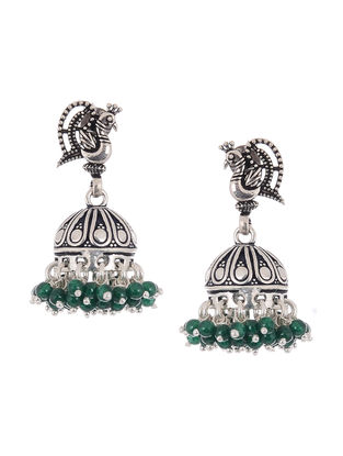 Green Silver Jhumkis with Peacock Design