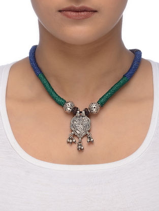Blue-Green Thread Tribal Silver Necklace with Peacock Motif