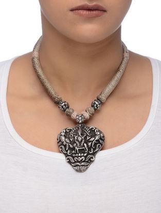 Beige Thread Silver Necklace