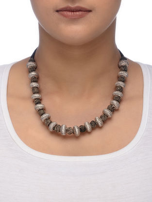 Brown Thread Silver Necklace