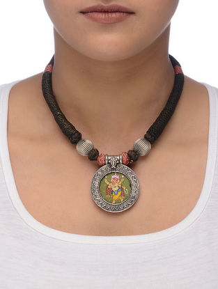 Brown-Pink Thread Silver Necklace with Hand-painted Lord Ganesha Motif