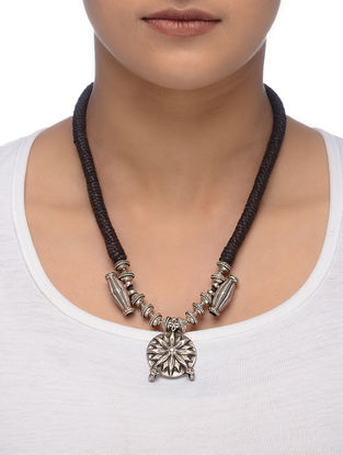 Brown Thread Tribal Silver Necklace