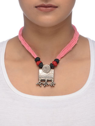 Pink-Red Thread Tribal Silver Necklace with Floral Motif