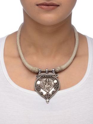 Grey Thread Tribal Silver Necklace with Deity Motif