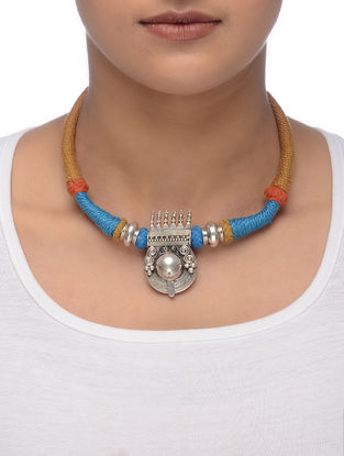 Blue-Orange Thread Tribal Silver Necklace