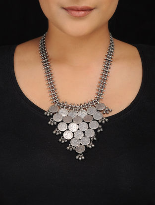 Tribal Silver Necklace with Coin Design