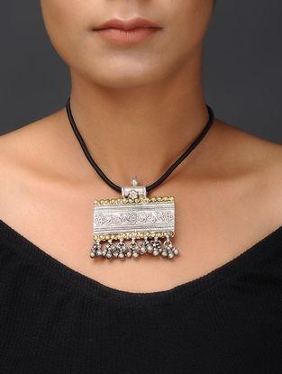 Black Thread Dual Tone Tribal Silver Necklace