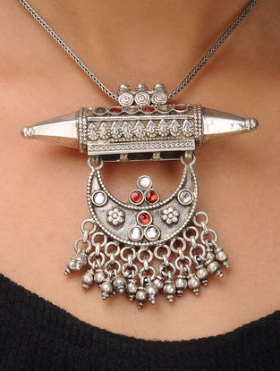 Red Tribal Silver Pendant
